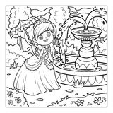 Coloring book, Princess with umbrella Royalty Free Stock Photography