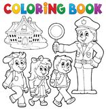 Coloring book pupils and policeman Royalty Free Stock Photo