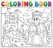 Coloring book queen near castle Royalty Free Stock Photography