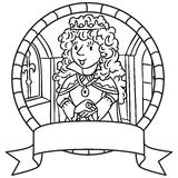 Coloring book of queen or princess. Emblem Royalty Free Stock Photo