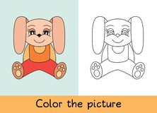 Coloring book. Rabbit. Cartoon animall. Kids game. Color picture. Learning by playing. Task for children.  vector illustration