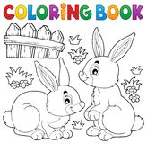 Coloring book rabbit topic 1 Royalty Free Stock Image
