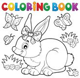 Coloring book rabbit topic 3 Royalty Free Stock Images