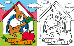 Coloring book rabbits. Colors and black and white version of a sweet couple of rabbits, mom and son, for a coloring book Royalty Free Stock Photo