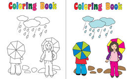 Coloring Book Rain Children. Coloring book children on rain, coloring and colored version included Royalty Free Stock Photo