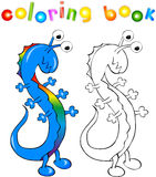 Coloring book rainbow dragon-monster Royalty Free Stock Image
