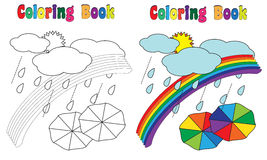 Coloring Book Rainbow sky. Coloring book Sky, sun,clouds,rain,rainbow,umbrella, coloring and colored version included Royalty Free Stock Images