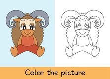 Coloring book. Ram, sheep. Cartoon animall. Kids game. Color picture. Learning by playing. Task for children royalty free illustration