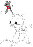 Coloring Book. Rat cartoon for kids coloring activity Stock Images