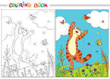 Coloring book. Red cat jumping over the butterflies in the grass and flowers on background of blue sky and white clouds. Stock Image