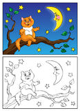 Coloring book. Red cat lies on a branch and talking to the moon. Vector illustration. Royalty Free Stock Photos