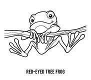 Coloring book, Red-eyed tree frog Royalty Free Stock Photos