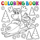 Coloring book reindeer in snowmobile Royalty Free Stock Photos