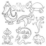 Coloring book with reptiles and amphibians Royalty Free Stock Photos