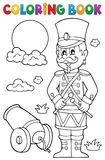 Coloring book retro soldier Royalty Free Stock Images