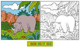 Coloring book (rhino) Royalty Free Stock Photography