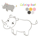 Coloring book rhino kids layout for game vector. Coloring book rhino kids layout for game hand drawn doodle cartoon vector illustration Royalty Free Stock Photography