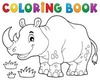 Coloring book rhino theme image 1 Stock Image