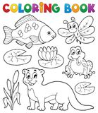 Coloring book river fauna image 1. Vector illustration Royalty Free Stock Images