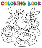 Coloring book river fauna image 2. Vector illustration Stock Photography
