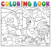 Coloring book rooster near farm. Eps10 vector illustration Royalty Free Stock Photo