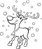 Coloring Book Rudolph the red-nosed reindeer. Black and white isolated line vector illustration for coloring page or whiteboard presentation drawing or animation Royalty Free Stock Image