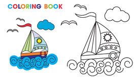 Coloring book. sailboat on the waves, to teach vector illustration