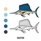 Coloring book, Sailfish Royalty Free Stock Photo