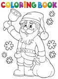 Coloring book Santa Claus with bell Stock Image