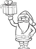 Coloring Book Santa Claus with Christmas gift Stock Photography