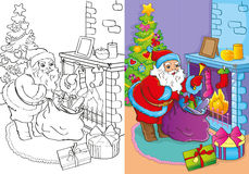 Coloring Book Of Santa Claus Gets Gifts Stock Photo