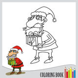 Coloring book. Santa claus with green present Royalty Free Stock Photography