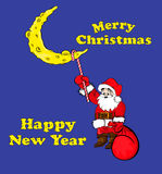 Coloring book Santa Claus hanging on the moon. Santa Claus hanging on the moon. Merry Christmas and Happy New Year Stock Photography