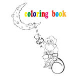 Coloring book Santa Claus hanging on the moon. On a white background Stock Photography