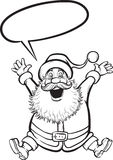 Coloring Book of Santa Claus jumping happy Royalty Free Stock Image