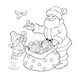 Coloring book. Santa Claus, rabbit and birds with Christmas gifts. Stock Photo