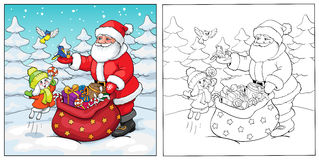 Coloring book. Santa Claus, rabbit and birds with gifts. Royalty Free Stock Image