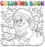 Coloring book Santa Claus in snow 1 vector illustration