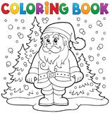 Coloring book Santa Claus in snow 3 Stock Image