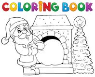 Coloring book Santa Claus theme 9 vector illustration