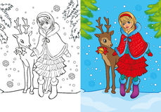 Coloring Book Of Santa Girl Stands With Deer Stock Photo