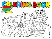 Coloring book with school and bus. Illustration Stock Photos