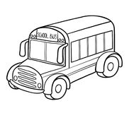 Coloring book, School bus stock illustration