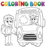 Coloring book school bus theme 4 Royalty Free Stock Image