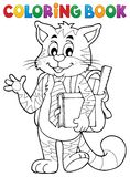 Coloring book school cat theme 1 Royalty Free Stock Image