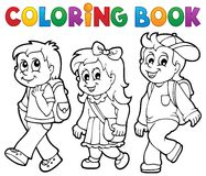 Coloring book school kids theme 2 vector illustration
