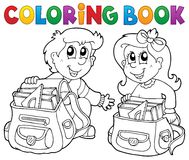 Coloring book school kids theme 3 Royalty Free Stock Image