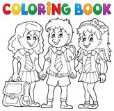 Coloring book with school pupils Royalty Free Stock Photos