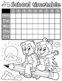 Coloring book school timetable 3 Stock Image