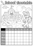 Coloring book school timetable 5 Stock Photo